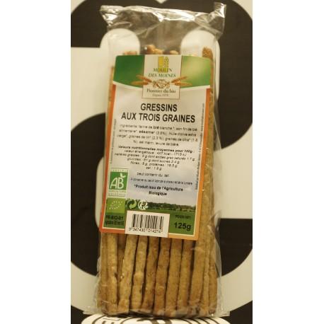 Gressins bio aux 3 graines 125 g